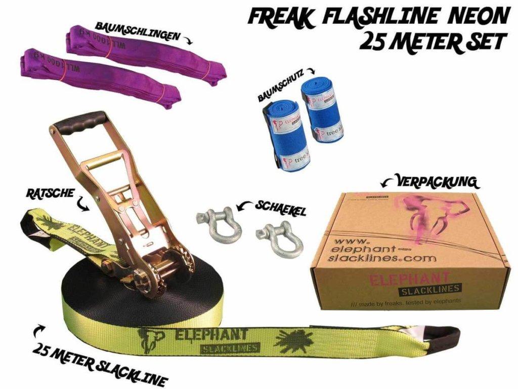 neonfarbene 25 Meter Freak Flashline zum Springen