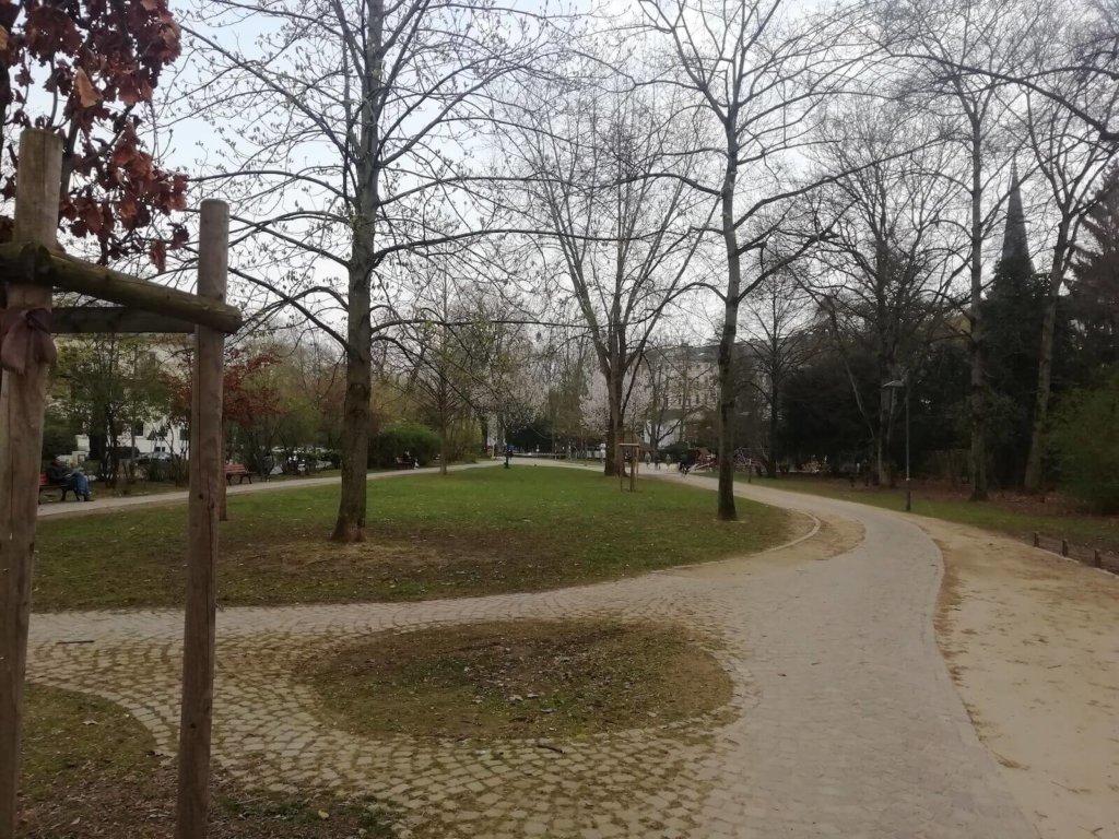 Zwei Bäume zum Slackline spannen in Frankfurt